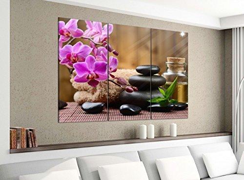Leinwandbild 3tlg 120cmx100cm Wellness Feng Shui Orchidee Steine Bilder Druck auf Leinwand Bild Kunstdruck mehrteilig Holz 9YA3601, 3 Tlg 120x100cm:3 Tlg 120x100cm