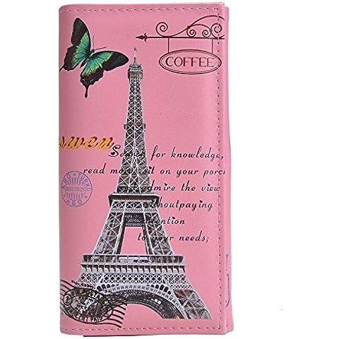 Minetom Donne Lungo Portafoglio Torre Eiffel Titolare Della Carta Portamonete ( Type 1 ) - Torre Panoramica