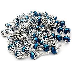 Nazareth Market Store Unique Bleu foncé Perles Cristal Collier Chapelet catholique Sainte Médaille du Sol et Croix