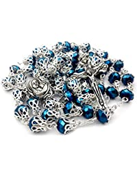 Unique Deep Blue Crystal Beads Rosary Catholic Necklace Holy Soil Medal & Cross - by Nazareth Market Store