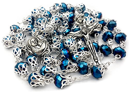 Rosario largo de cuentas católico con perlas de cristal azul oscuro, collar de oración con cruz y medalla santa
