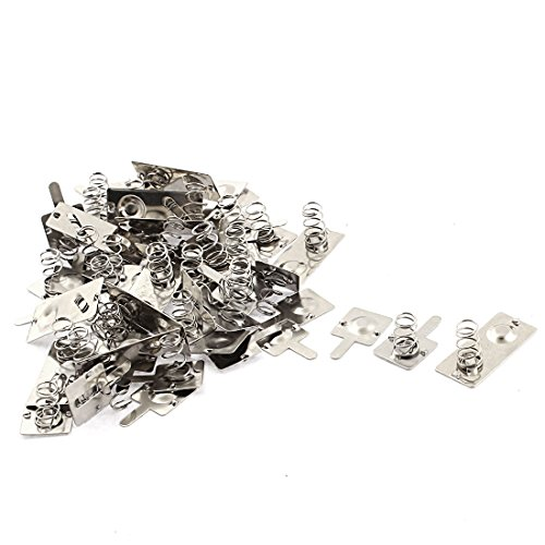 Price comparison product image sourcingmap® Metal AA Battery Connecting Spring Contact Plate Terminal 18pcs Silver Tone