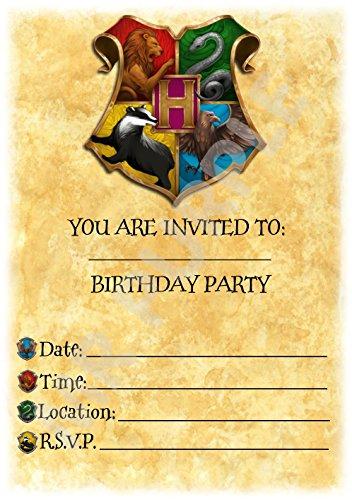 Harry Potter Geburtstagsparty-Einladungen –Party-Zubehör für eine Themenparty mit Hogwarts buntem Wappen (12er-Pack A5Einladungen) WITH Envelopes