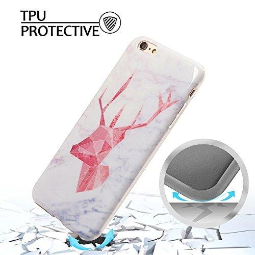 Coque iPhone 6 Plus , Etui Housse en Silicone Gel TPU de Protection Case Cover Souple Flexible Ultra Mince avec Feuilles et Flamingo motif Mode Dessin pour Apple iPhone 6 Plus (4.7 pouces) Enveloppe C Rouge Cerf et Blanc