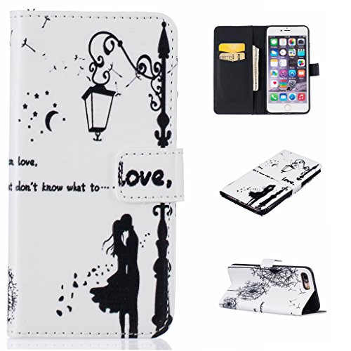 mo-beauty ®–Custodia a portafoglio in pelle PU per Apple Iphone 7[, con protezione per lo schermo in vetro temperato], Farfalla, Rosa, Dente di leone, fiori, colorato pattern design premium Elegant Love