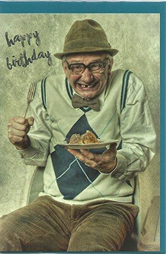 Glückwunschkarte zum Geburtstag * Lustiger Opa mit Kuchen