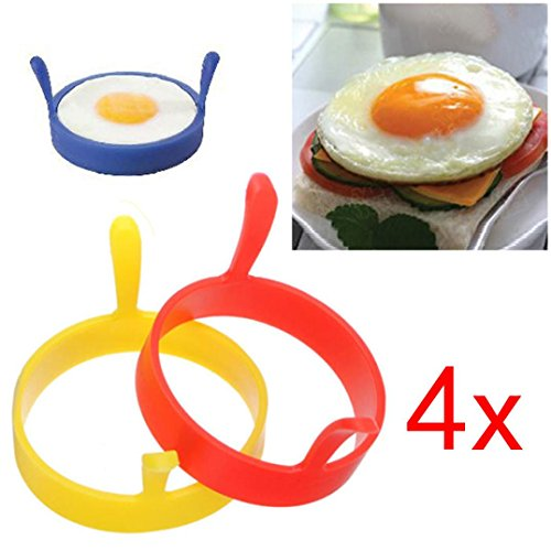 51wGVBRqcxL. SS500  - Hunpta Silicone Round Egg Rings Pancake Mold Ring W Handles Nonstick Fried Frying Pancake Mold (A)