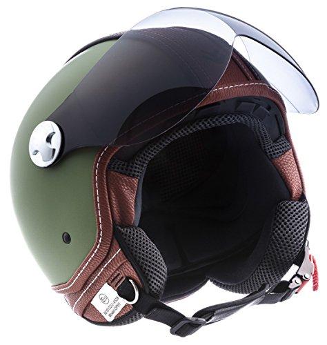 """Armor · AV-84 """"Vintage Deluxe Green"""" (green) · Casco Demi Jet · Urbano Piloto Moto Motocicletta Helmet Scooter · ECE certificato · Visor · Click-n-Secure Clip · Borsa per il trasporto · XXL (63-64cm)"""