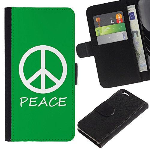 Graphic4You Peace Sign Friedenszeichen Design Brieftasche Leder Hülle Case Schutzhülle für Apple iPhone 6 / 6S (Neon Rosa) Grün