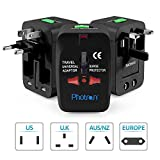 #8: Photron TRAD75 Universal Worldwide Travel Charger Adapter Plug With Built-in Surge Protector All in One Travel Power Outlet Adapter Wall Changer Adaptor Works in 150 Countries EU UK US AU with Pouch, Black