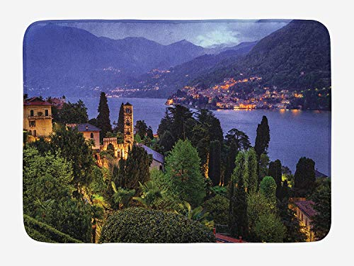 JIEKEIO Italian Bath Mat, Lago Di Camo Lake Famous Coastal Village with Aerial View Picturesque Panorama, Plush Bathroom Decor Mat with Non Slip Backing, 23.6 W X 15.7 W Inches, Blue Green -