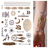 GOLD Tattoo, Flash Tattoos, Einmaltattoos, Traumfänger, Modeschmuck, Eule, Feder, LOVE, Stern, YS-18