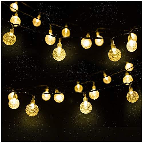 LED Solar Lichterkette Kristall Kugeln 4.5 Meter 30er Warmweiß, Mr.Twinklelight Außerlichterkette Deko für Garten, Bäume, Terrasse, Weihnachten, Hochzeiten, Partys, Innen und außen -