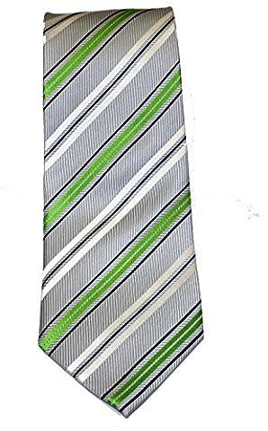 Krawatte grau mit feinen weissen und grünen Streifen,handgefertigt 100% Seide