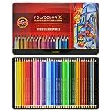 36 Polycolor Farbstifte für Künstler Zeichenstifte Set feinster Qualität von KOH-I-NOOR in METALLBOX - Geschenkset