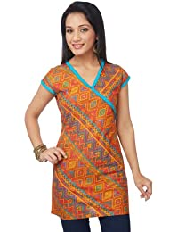 Enah Women's Cotton Folk Print Bias Tunic