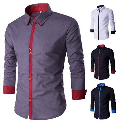 Men's High Quality Long Sleeved Casual Shirts white