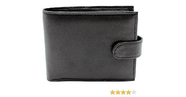 NUOVO RFID DA UOMO nero vera pelle morbida a libro portafoglio di lusso titolare della carta
