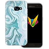Mobilefox Liquid transparente Silikon TPU Schutzhülle 0,7mm dünne Handy Soft Case für Samsung Galaxy A3 (2017) Liquid Grün Blau - Verlauf Hülle Cover
