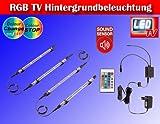 RGB LED Farbwechsel TV / Fernseher Backlight Hintergrund-Beleuchtung für 24-50 ZOLL (61-117cm) m. Soundsensor TG2338-161