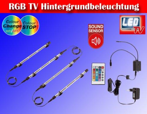 RGB LED Farbwechsel TV/Fernseher Backlight Hintergrund-Beleuchtung für 24-50 ZOLL (61-117cm) m. Soundsensor TG2338-161 (Plasma-tv-licht)