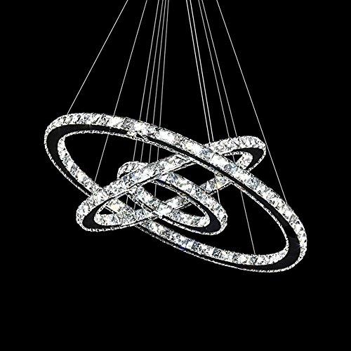 Sailun 48w/63w/72w/96w led cristallo design lampada a sospensione due/tre anelli dimmerabile lampada a sospensione lampadario creativo lampadario da soffitto lampadario 72w warmweiß