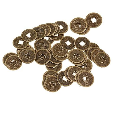 Gazechimp 50 Feng Shui Pièces de Monnaies d'Empereur Chinois Motif de Double Dragon Argent Fortune Chance 2.3cm