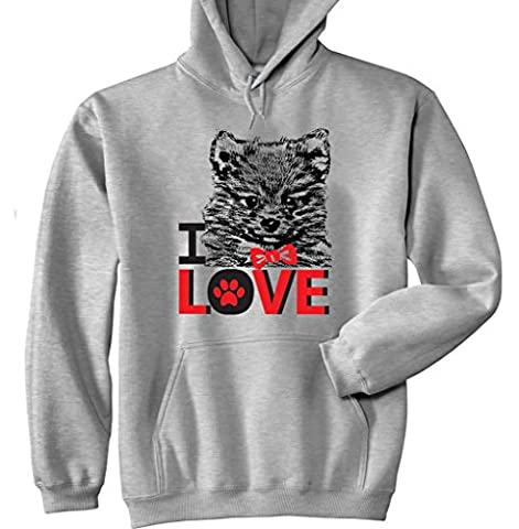Teesquare1st Men's I LOVE POMERANIAN Grey Hoodie Size