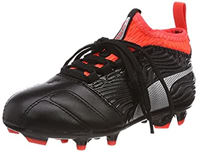 Puma Unisex-Kinder One 18.3 AG Jr Fußballschuhe, Schwarz Black-Silver-Red Blast, 31 EU