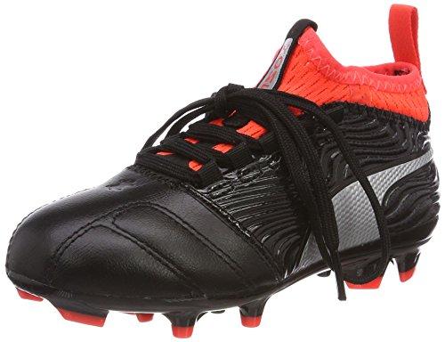 Puma One 18.3 AG Jr, Chaussures de Football Mixte Enfant, Noir/Argent, 32 EU
