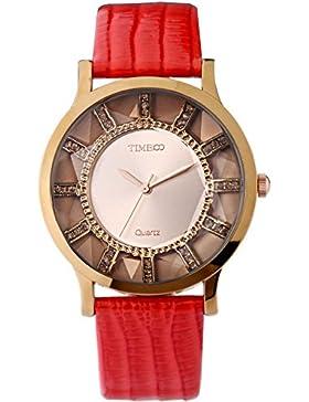 Time100 Armbanduhr Damenuhren Mädchenuhr Junguhr rund #W50204L.01A (rot)