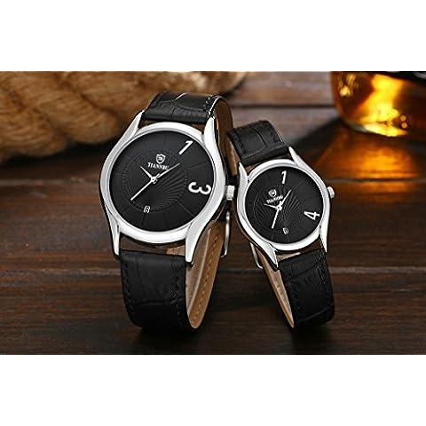 Tiannbu 1paio/2pc Tiannbu ultrasottile in pelle Fashion romantici polso orologi, regalo di natale - Polso Amanti Orologi