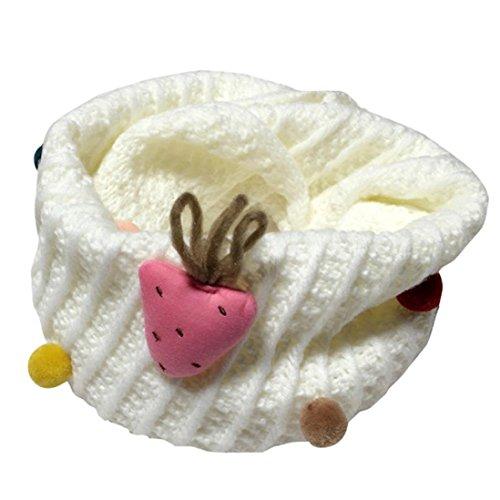 Fuibo Baby Schal, Neue Herbst Winter Jungen Mädchen kinder Niedlichen Schal Baumwolle O Ring Neck Schals (Weiß)