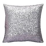 JiaMeng Otoño Lentejuelas de Brillo de Color sólido Throw Pillow Case Funda de Almohada para cojín (Plata,40cm*40cm)