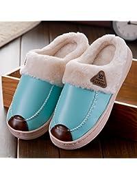 Y-Hui in autunno e in inverno e inverno gli amanti del caldo Home Fondo spesso in borsa con cotone pantofole,42-43 metri / Uomini soldi,blu navy