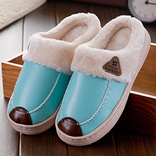 Y-Hui uomini pantofole di cotone coppia femminile Pu impermeabile antiscivolo da fondo capelli spessi con la metà di un pacco di Casa Arredamento interni caldo Inverno Home Mark line blue