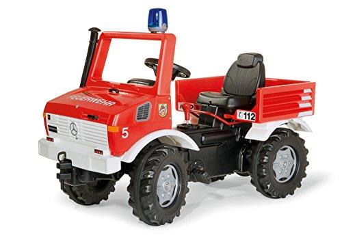 Rolly Toys 036639 Feuerwehr Unimog Farmtrac classic | mit Rundumleuchte Flashlight, Kettenantrieb, Schaltung und Handbremse | für Kinder von 3 – 8 Jahren | Farbe rot