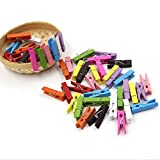 Kleine Mini Holz Wäscheklammern / Holzklammern / Dekoklammern 50 Stück Mix Farbe