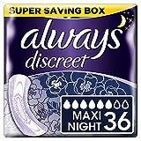 Always Discreet Inkontinenz-Einlagen + Maxi Night 6, bei empfindlicher Blase, verbannt Gerüche & Nässe in Sekunden verhindert Auslaufen-6x6 (36 Pack)