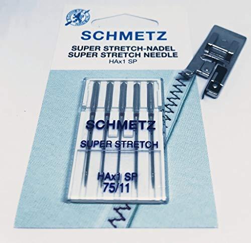 Original Schmetz Super Stretch HA x 1 SP Nähmaschinen Nadeln Stärke 75 + Overlockfuß Nähfuß für Necchi Nähmaschinen 559 -