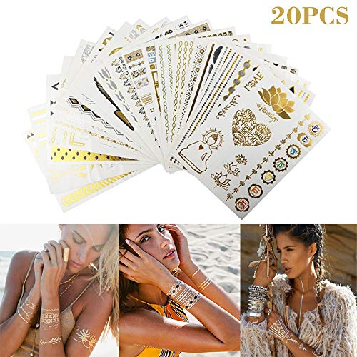 20PCS Temporäre Tattoos mit Glitter, DazSpirit Körper Tattoos mit 200+ Motiven Metallic Tätowierung Wasserdicht Semi Permanent abnehmbare Tattoo Aufkleber für Body Art Gesicht Mädchen Make-up - Metallic-sticker