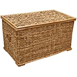 Rattan Wicker Lined Rustic Trunk or Laundry, Storage Basket, Toy Chest (Large - W 76 x D 45 x H 44cm) by Casa Furnishings