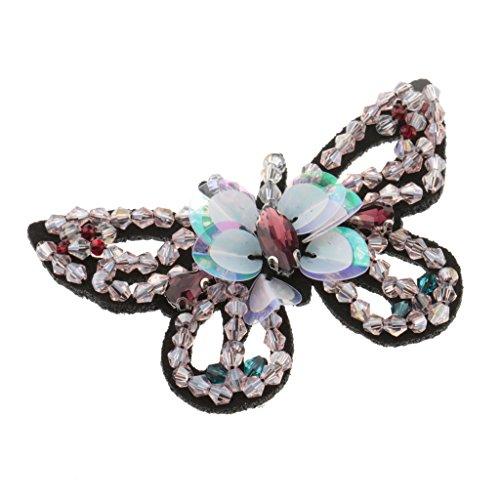 MagiDeal Aufnäher Patches Applikationen mit Strass Crystal Stern/Schmetterling/Herz/Augen/Skelett zum aufbügeln - Schmetterling Rosa, 1 stück (Stück Schmetterling Applique 2 Rosa)