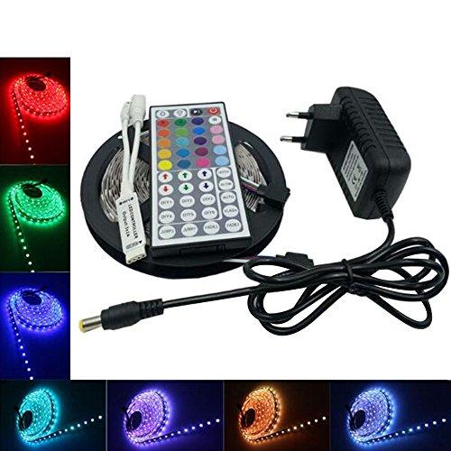 Skitic LED Striscia 5M RGB 300 LEDs 5050 SMD LED Strip Impermeabile IP65 Flessibile Adesivo + 44 Tasti Telecomando + 5A DC 12V Alimentatore - Multi Spoke Wheel
