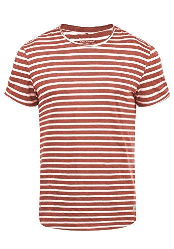 Blend Genesis Herren T-Shirt Kurzarm Shirt Streifenshirt Mit Streifen Und Rundhalsausschnitt, Größe:M, Farbe:Tandori Red (73836) (T-shirt Streifen)