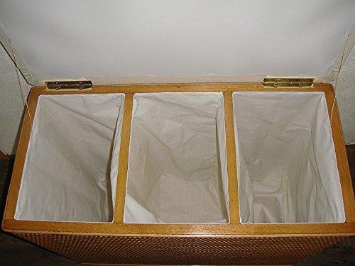 Wäschekorb 3 Fach Sortierer Sitzhocker aus Rattan Honig mit DREI Fächern Made in Germany -