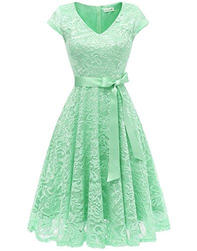 Berylove Damen V-Ausschnitt Kurz Brautjungfer Kleid Cocktail Party Floral Kleid BLP7006MintXL - Für Frauen Grün-kleid Mint