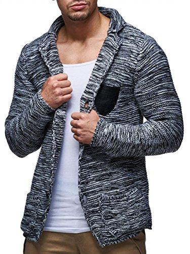 Herren Strick-Jacke · Regular Fit · Warmer Cardigan aus weichem Grobstrick · Pullover-Jacke meliert · Knopfreihe · Stehkragen · Leder-Patch · Einschubtasche · H1373 von LEIF NELSON Anthrazit