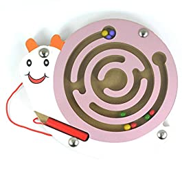 HappyToy Mini Animal Round legno magnetico bacchetta Numero labirinto interattivo labirinto perline magnete Maze sulla scheda del gioco Città di traffico Eduactional Artigianato Giocattoli (Rosa lumaca)
