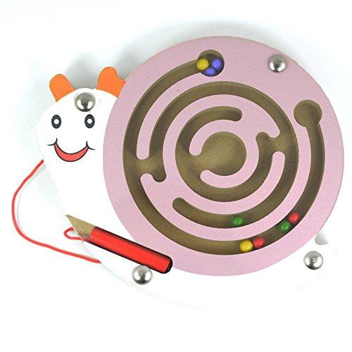 HappyToy Animal Mini varita magnética de madera redonda número laberinto laberinto interactivo imán cuentas laberinto en tráfico de la ciudad divertida juego de mesa juguetes artesanales (Caracol rosa)